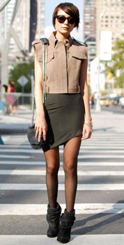 Asymmetrical skirt on a street style fashionista