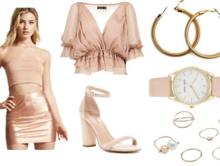 Rose gold outfit idea inspired by Athena: Rose gold metallic mini skirt, nude strappy heels, rose gold watch, gold hoop earrings, blush pink crop top blouse