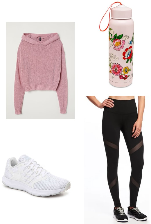 Athleisure outfit with a pink sweater and water bottle, workout leggings and black sneakers