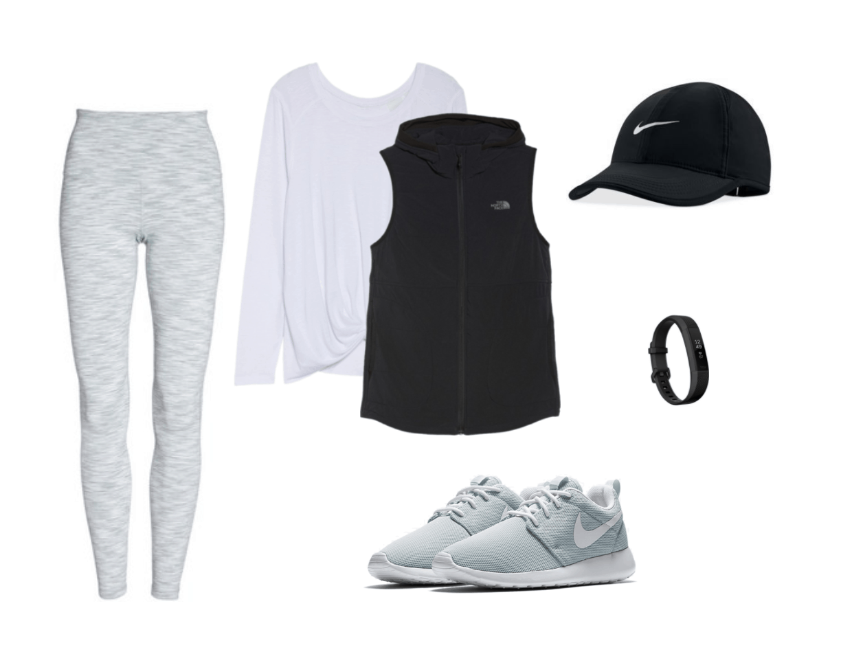 Athletic sneaker outfit: Gray leggings, white long sleeve tee shirt, black vest, black hat, fitbit