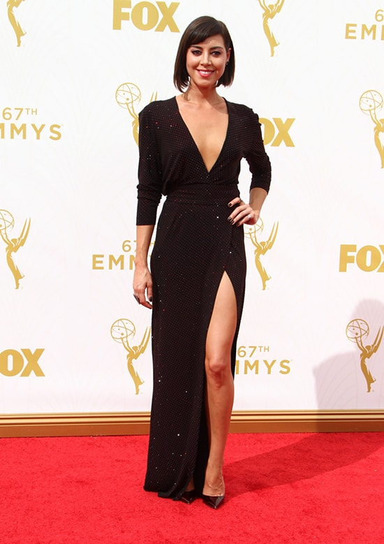 Aubrey Plaza in Alexander Vauthier at the 2015 Emmy Awards