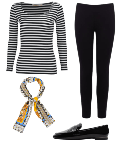 Audrey Hepburn outfit: A black and white horizontal striped long sleeve shirt, black pants, black loafers, and a blue, orange, and cream patterned neckerchief