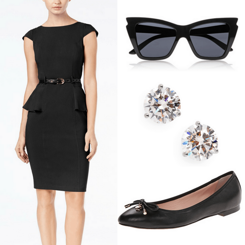 Audrey Hepburn style: Outfit inspired by Audrey Hepburn with little black dress, oversized sunglasses, faux diamond studs, and black ballet flats