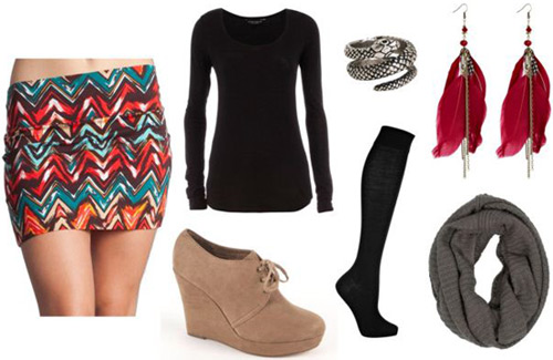 How to wear aztec and tribal prints: Printed skirt, black top, ankle booties