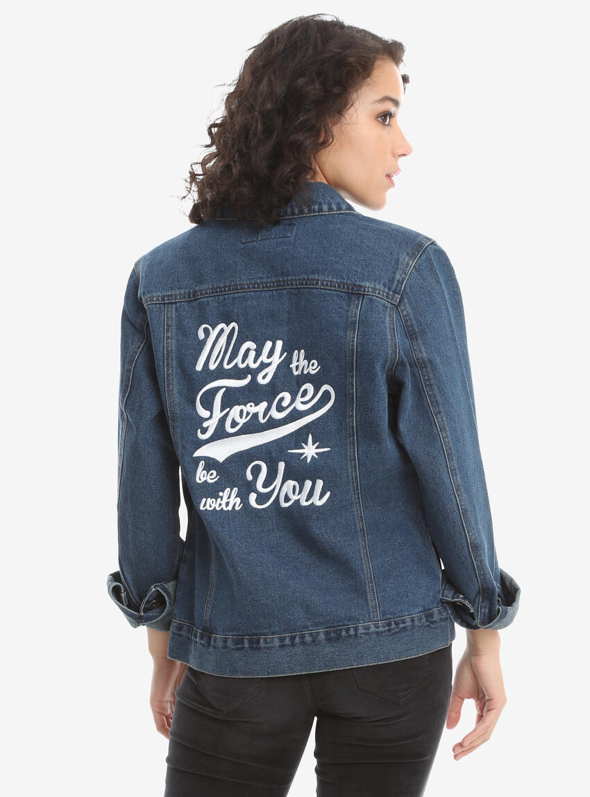 "100% cotton denim jacket with embroidered ""May the Force Be With You"" on the back. The front features ""SW"" patch on the upper left corner of the wearer."