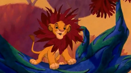 Baby Simba with a leaf mane in Disney's The Lion King
