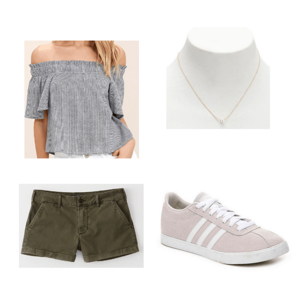 stripped top, green shorts, gold necklace, pink sneakers