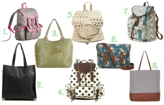 Back to school backpacks and totes