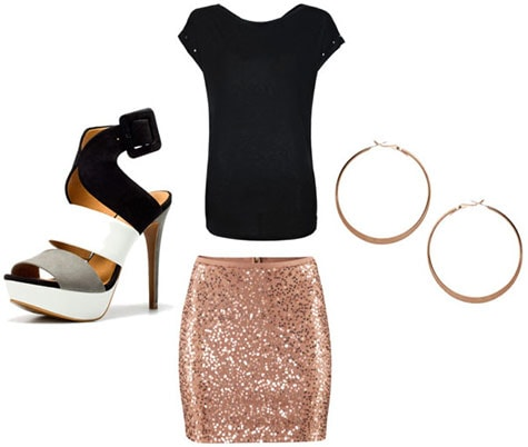 Back to School outfit 1: End of summer party (sequin skirt, black tee shirt, heels, statement earrings)
