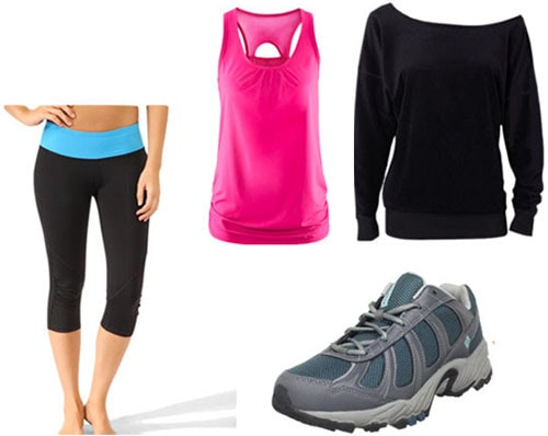 Back to school outfit 3: Back to the campus gym (workout shoes, tank, off-shoulder sweatshirt, leggings)
