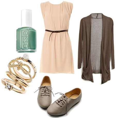 Back to School outfit 4: Orientation - beige dress, oxfords, bangle bracelets, knit cardigan, nail polish