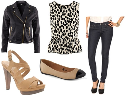 Back to school outfit 5: First day of class - peplum top, biker jacket, skinny jeans, sandals or flats