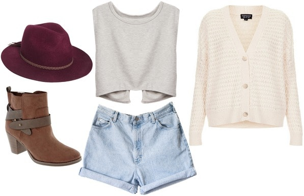 Back-to-School outfit: cutoffs, crop top, knit cardigan
