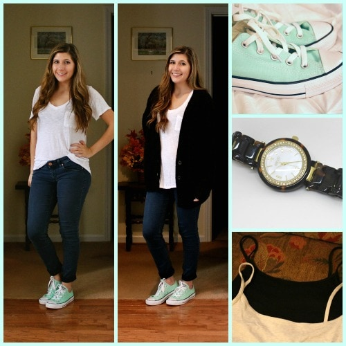 Back to school outfit jeans white tee converse