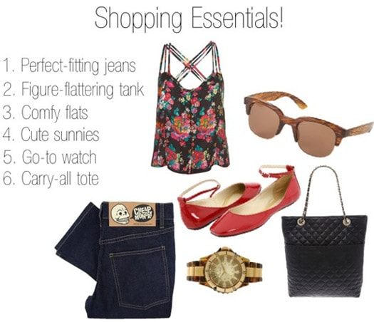 Back to School Shopping Essentials: Jeans, comfy flats, tank, sunnies, tote, watch