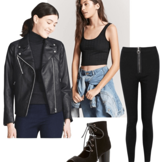 Back to school outfit for winter: leather jacket, black crop top, black jeans, black booties