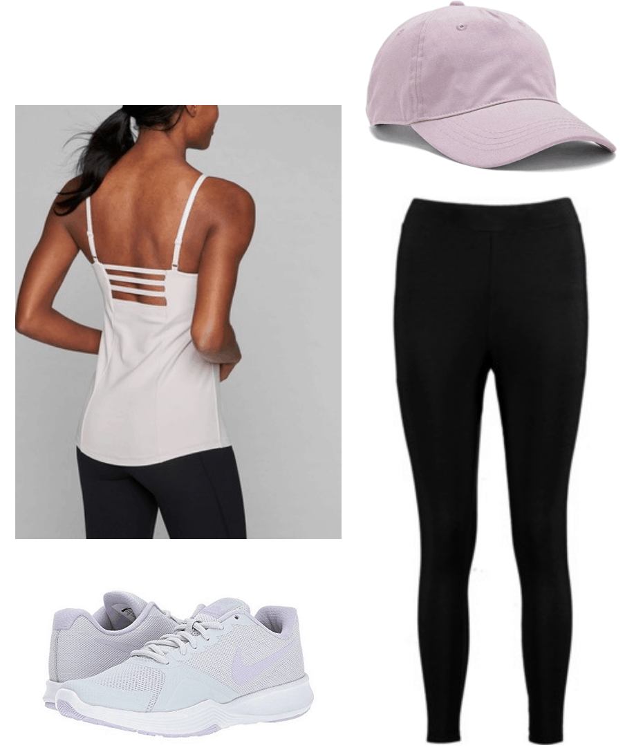 Back to school workout outfit: tank top, leggings, nike, sneakers, baseball cap, lilac, purple