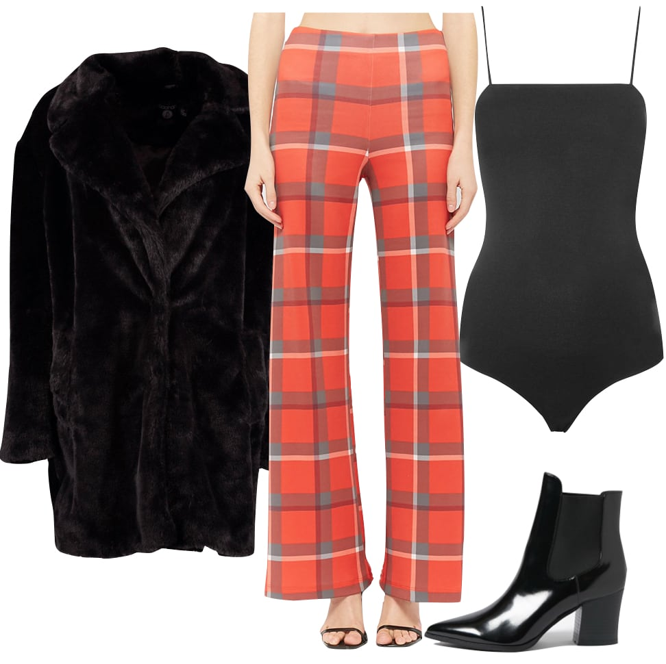 Bailee Madison Outfit: black faux fur coat, orange plaid flared pants, black square neck bodysuit, black pointy toe ankle booties