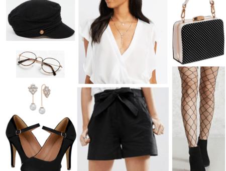Classy outfit with black felt baker boy cap