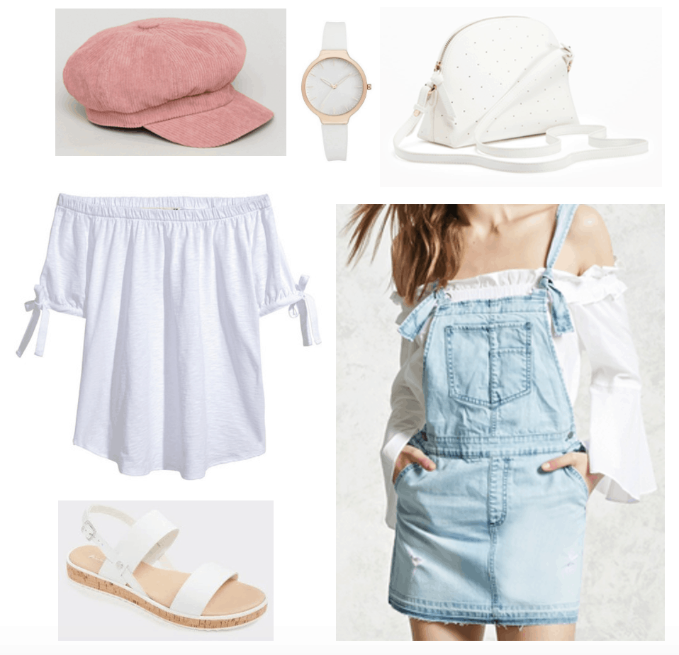 Outfit with blush pink baker boy cap