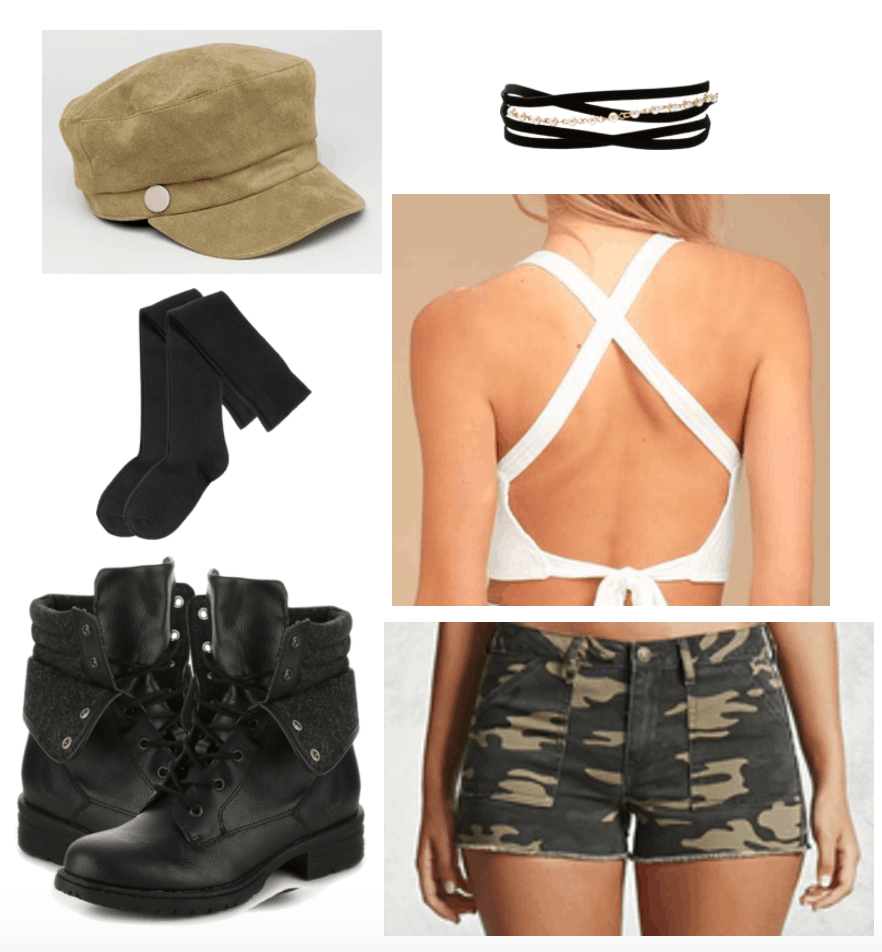Grungy outfit with khaki colored baker boy cap