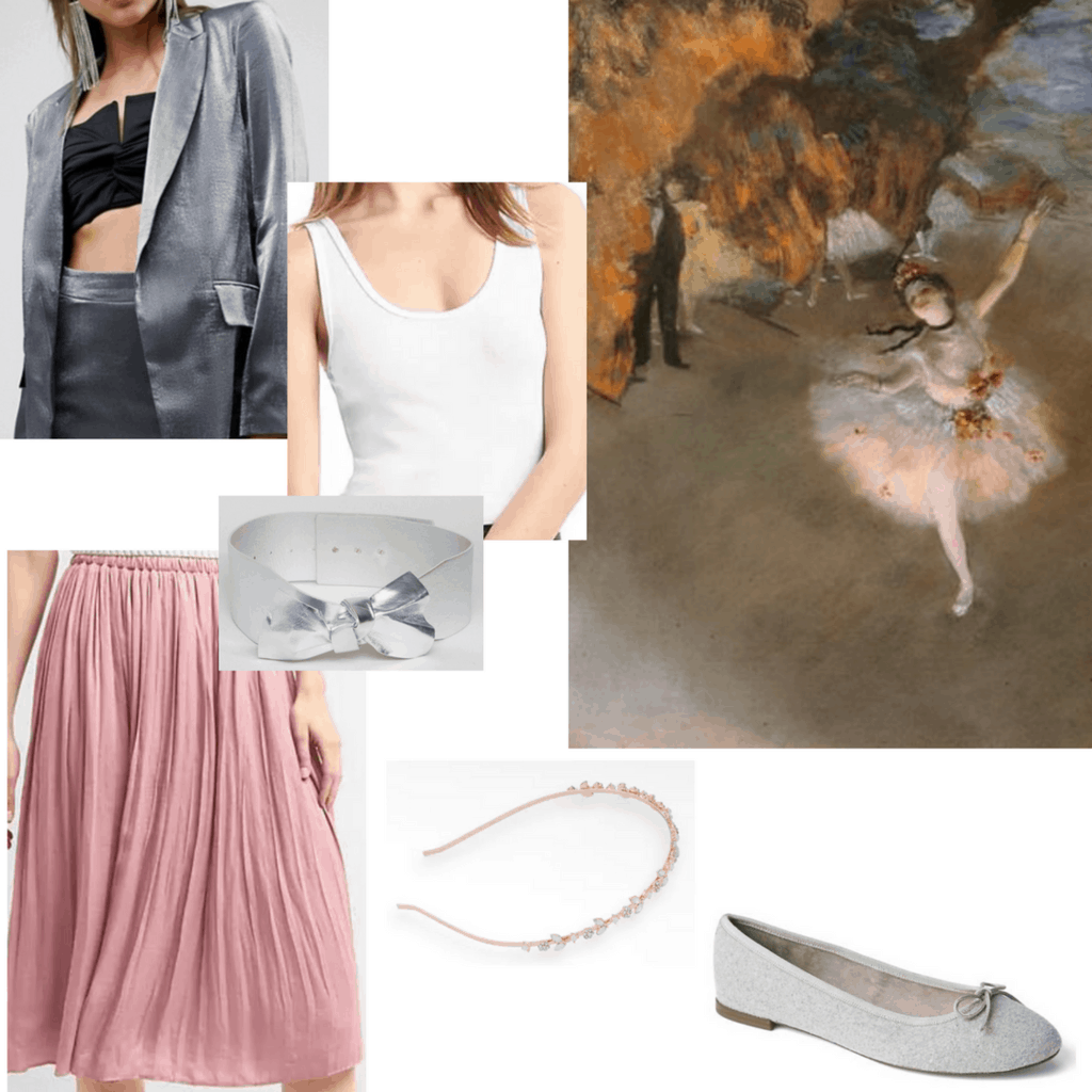 outfits inspired by degas outfits inspired by impressionism outfits inspired by ballerinas silver blazer white tank top silver bow waist belt blush pink ruffled skirt rose gold headband gray bow flats