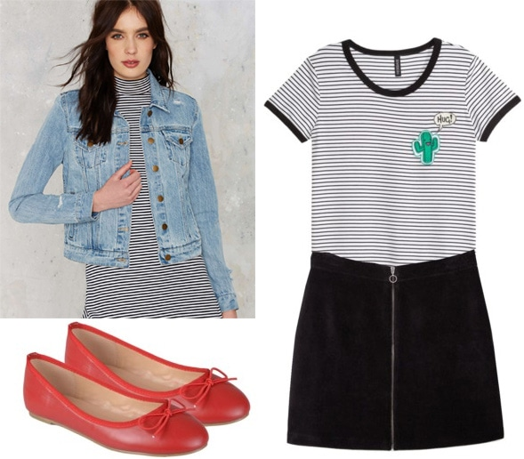 How to wear ballet flats with a black skirt, striped shirt, and denim jacket
