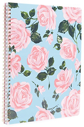 Large baby blue spiral-bound notebook with pale pink rose print with green stems