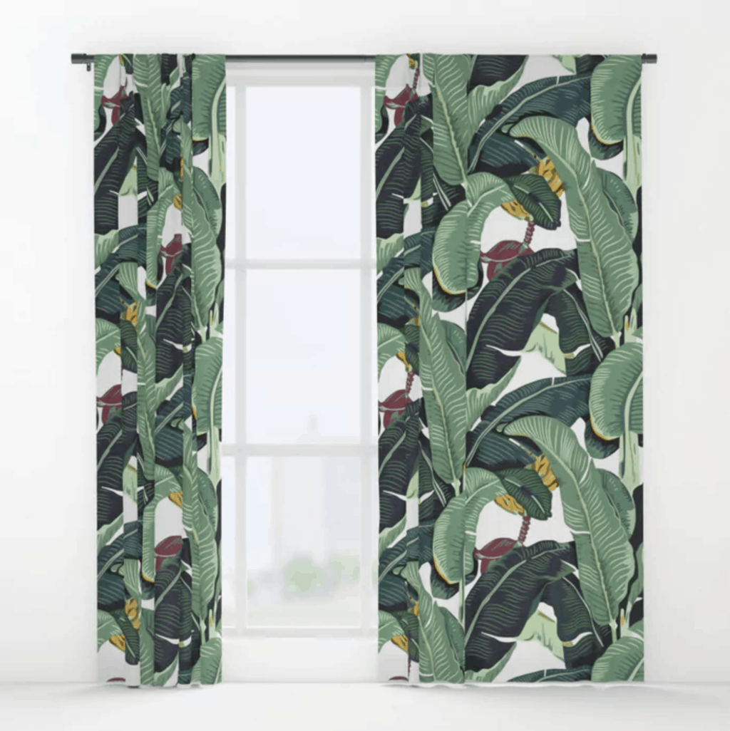 Banana leaf curtains from Society6