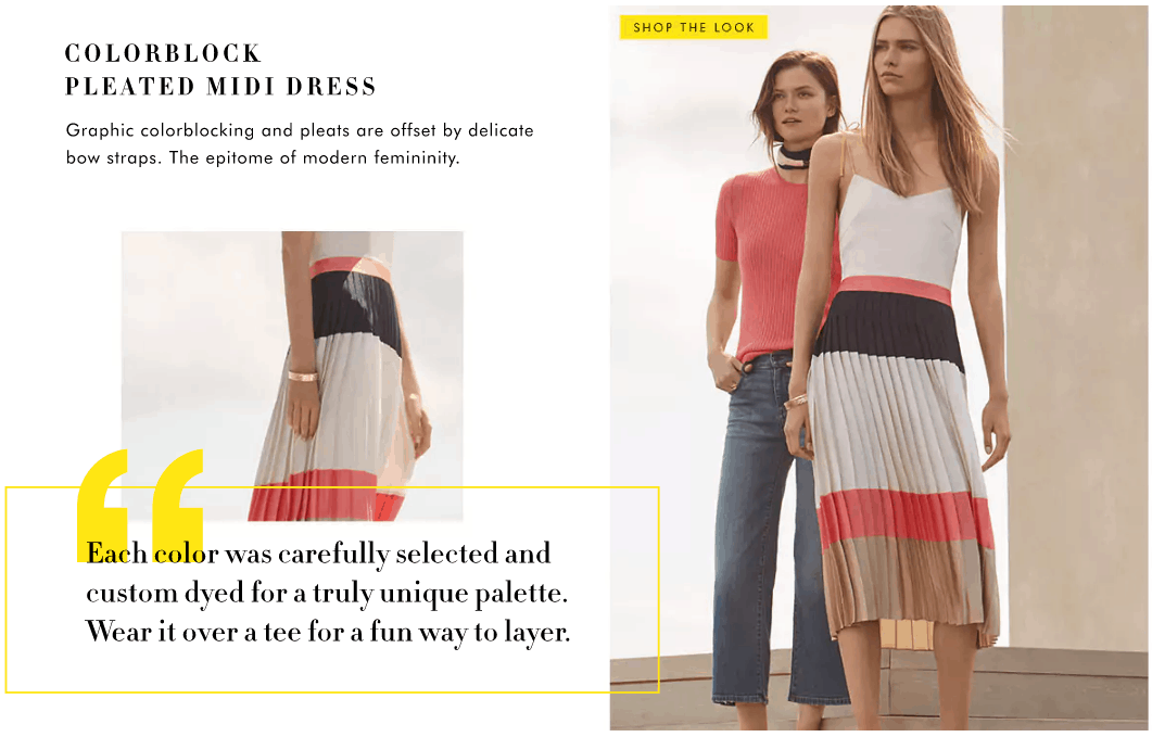 Banana Republic Summer 2017 Lookbook: Model wears striped pleated skirt in pink, tan, and white, with simple white cami