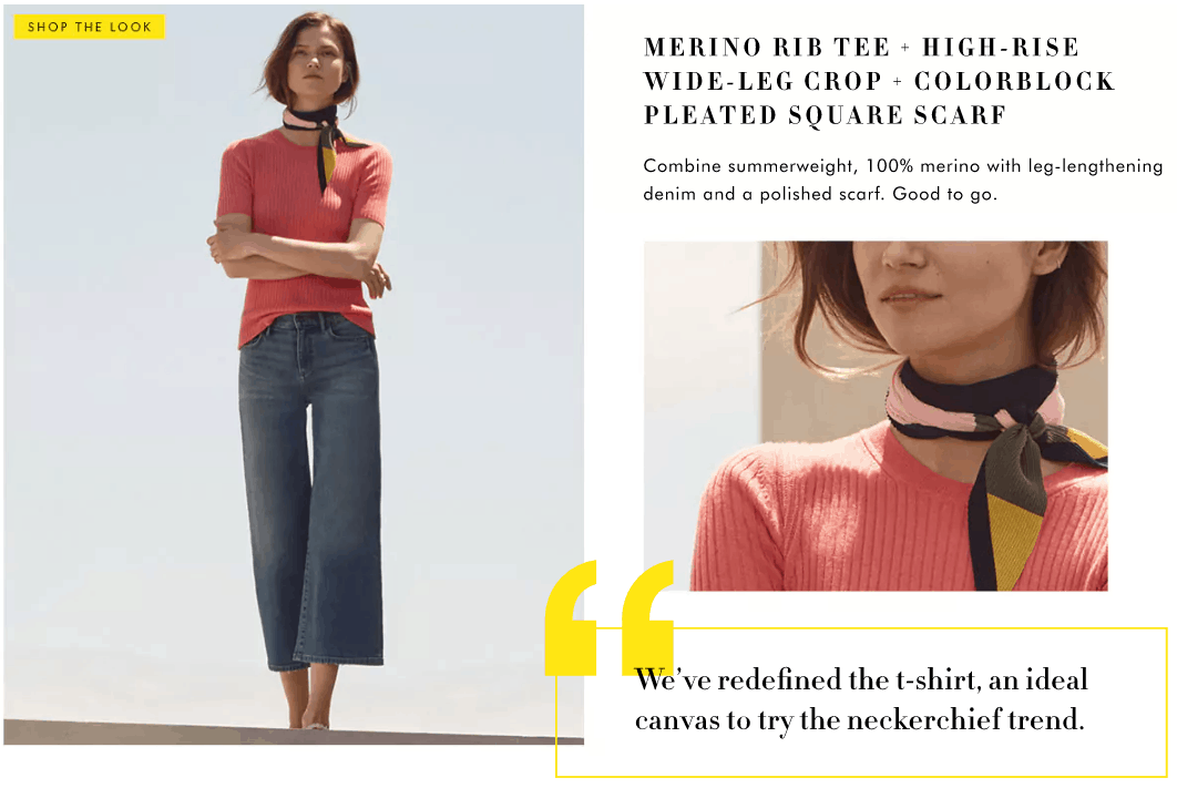 Banana Republic Summer 2017 Lookbook: Model wearing a coral tee shirt, flare leg jeans, neck scarf