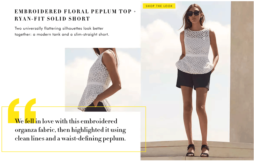 Banana Republic Summer 2017 Lookbook: Model wears eyelet peplum top with belt, black chino shorts and slides
