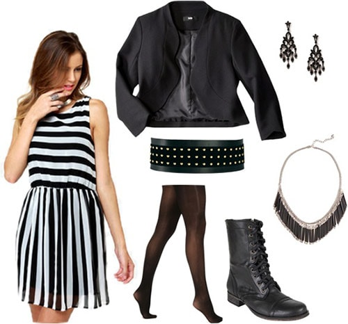 """Outfit inspired by The Band Perry's """"Better Dig Two"""": Striped dress, black blazer, studded belt, tights, lace-up boots"""