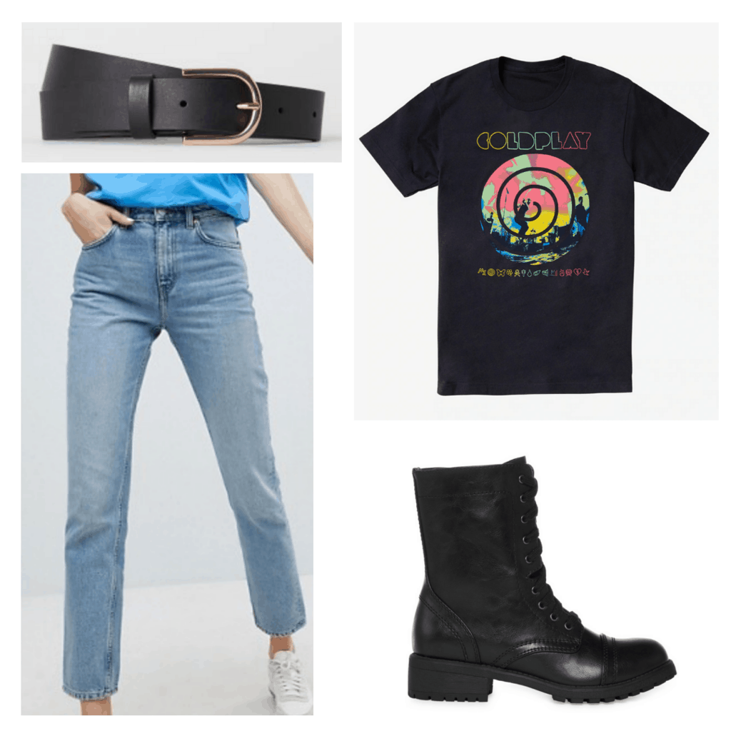Black Coldplay t shirt with light mom jeans, black belt, black combat boots