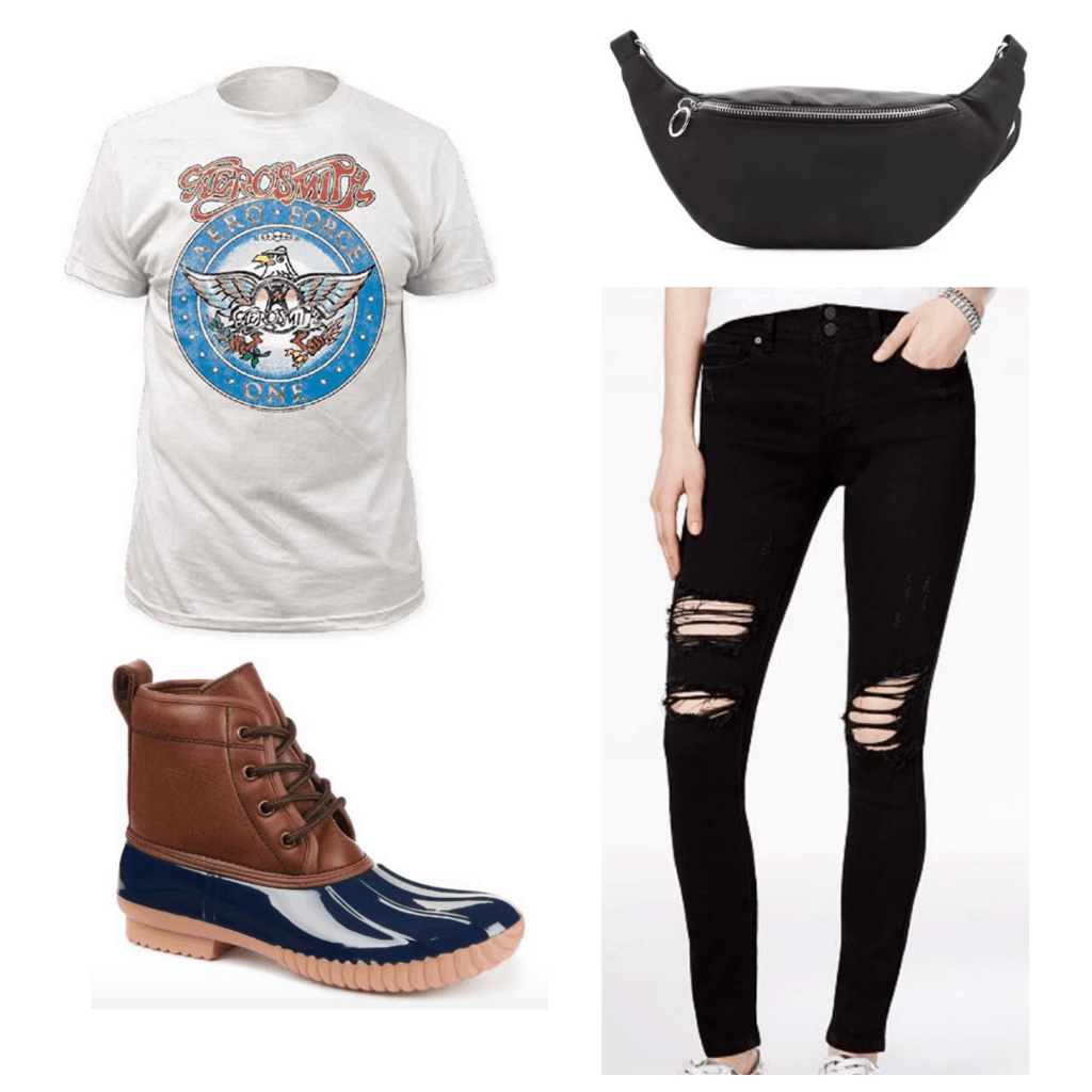 White band t shirt, black distressed jeans, black fanny back and duck shoes