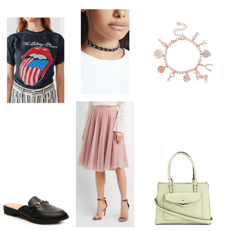 Outfit with Rolling Stones tee, tulle midi skirt, black loafer mules, choker, rose gold charm braclet, and pastel green satchel
