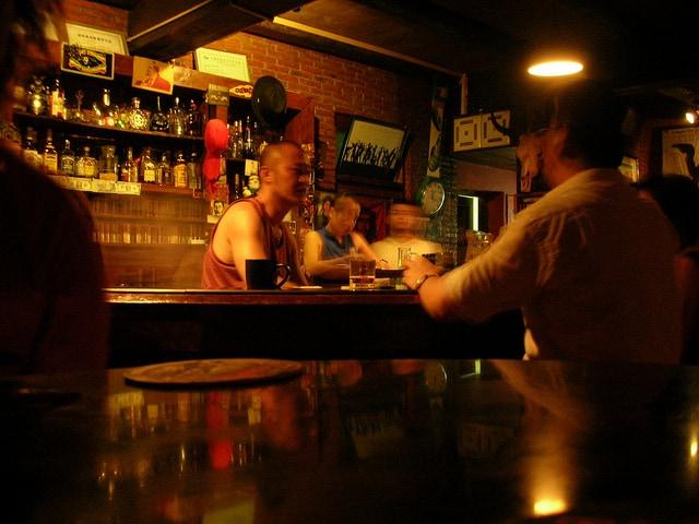 Men sitting in a bar