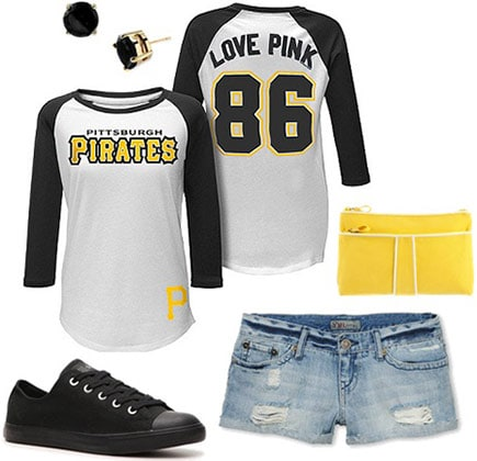 Baseball game outfit: Team baseball tee, jean shorts, converse, matching purse and earrings