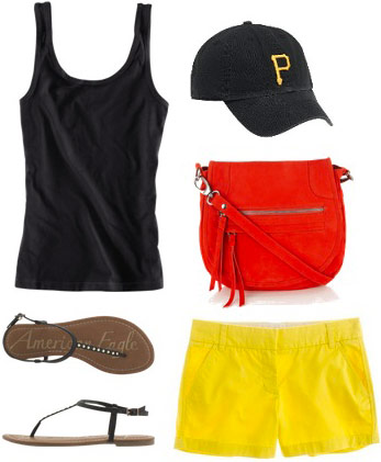 Baseball game outfit: Cute shorts and tank in team colors, baseball hat, basic sandals, contrasting cross-body bag