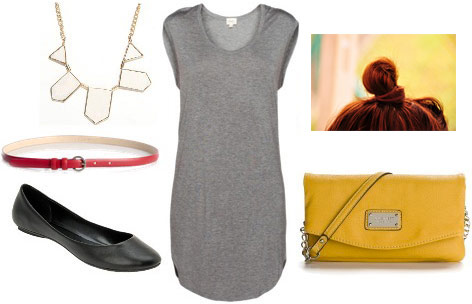 Baseball game outfit: Neutral tee shirt dress, statement necklace, bag in team colors, ballet flats, belt, top knot
