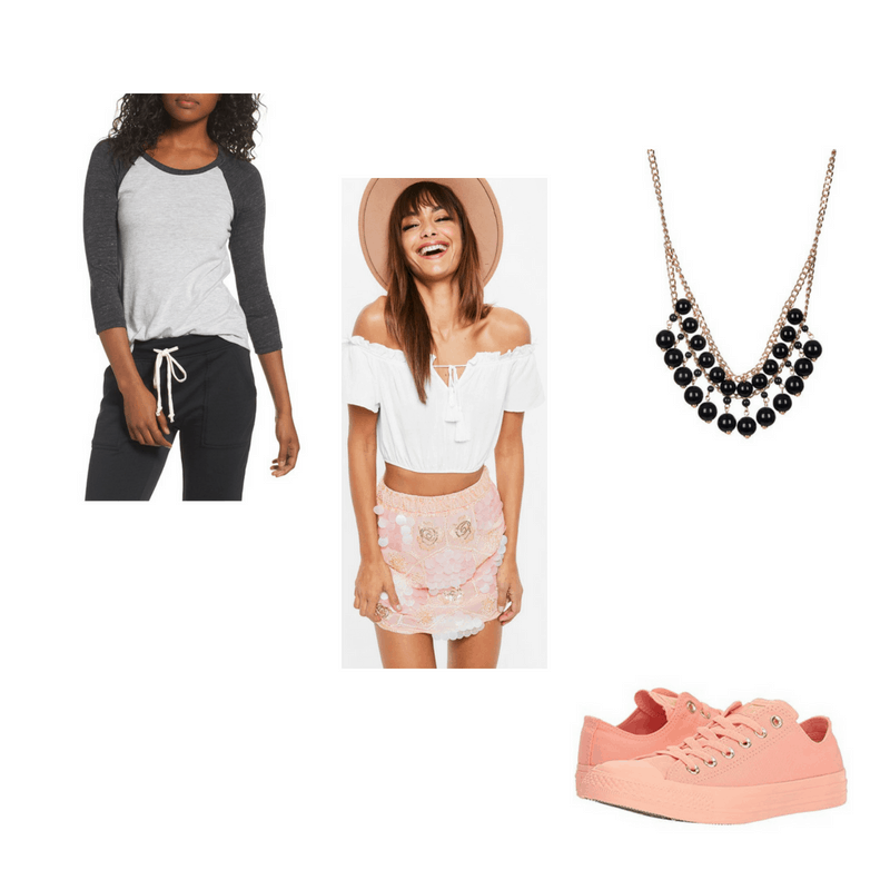 Outfit with baseball tee, sequin embroidered skirt, beaded necklace, and coral sneakers