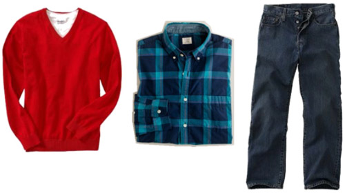 Basic guys clothing - a red sweater, plaid shirt, and basic jeans