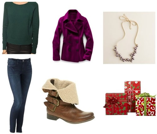 Simple/basic holiday party outfit: Cute sweater, basic jeans, boots, bright coat, necklace