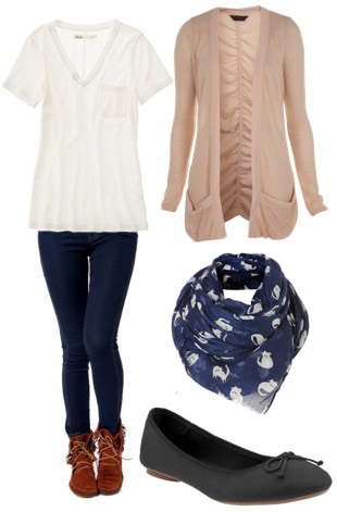 Basic travle outfit: Jeggings, plain white tee, cardigan, scarf, and flats or boots