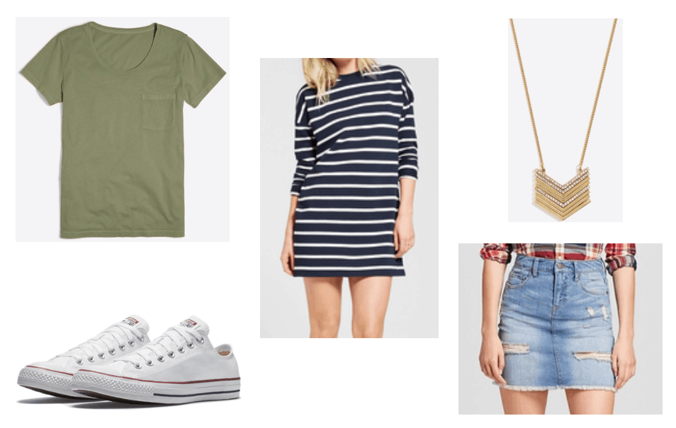 Summer wardrobe basics: Tee shirt, denim skirt, striped t-shirt dress, Converse sneakers, basic pendant necklace