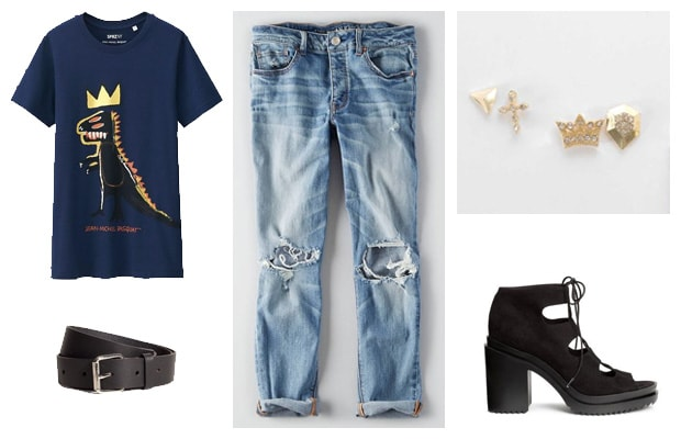 Basquiat graphic tee and boyfriend jeans outfit