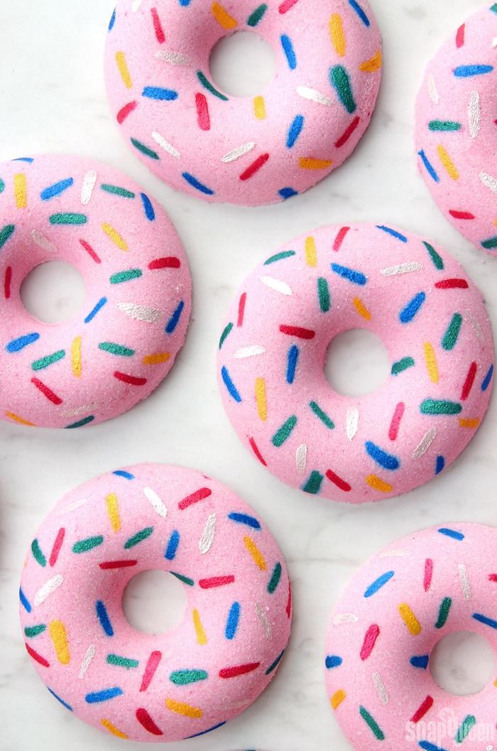 Photo of donut bath bombs.