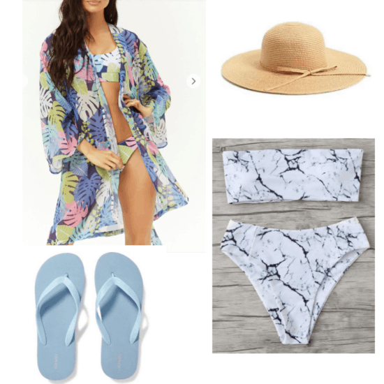 Winter vacation outfit ideas: Outfit for the mountains with marble print two piece bikini, tropical print beach cover up, straw hat, light blue flip flops