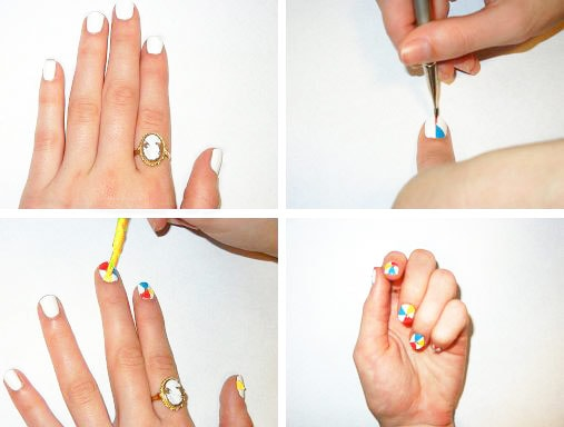 Beach ball nail art steps