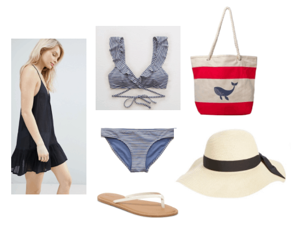 navy swim suit cover-up, blue ruffled stripped bikini top and bottoms, red canvas bag, straw hat, and white flip flops